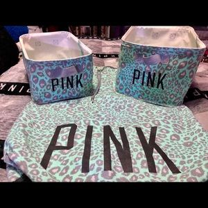 PINK Victoria's Secret Mint Leopard Bins